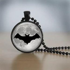Bat & Full Moon Glass & Black Alloy Necklace